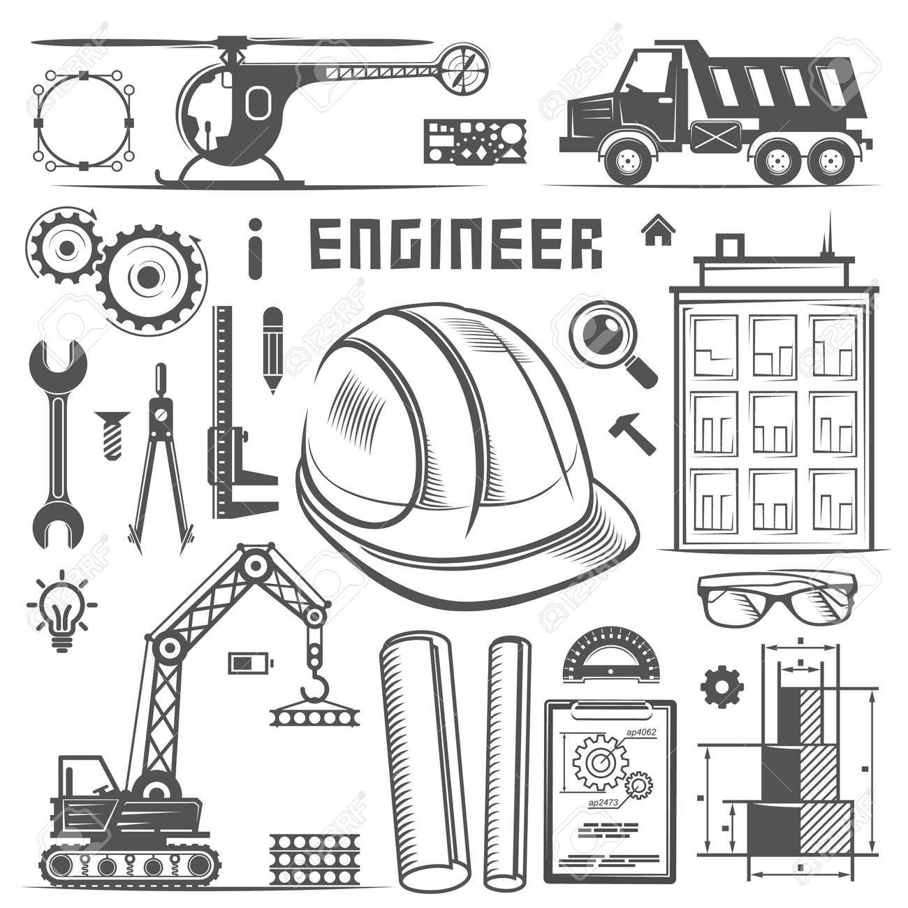 Icons engineer drawing style art vector illustration royalty free