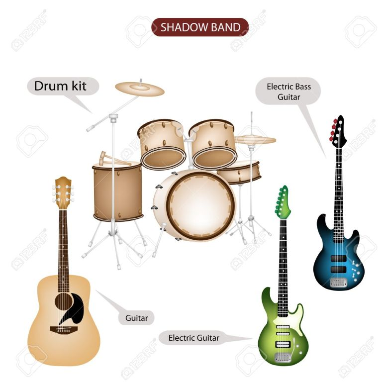 illustration brown color collection of musical instruments shadow