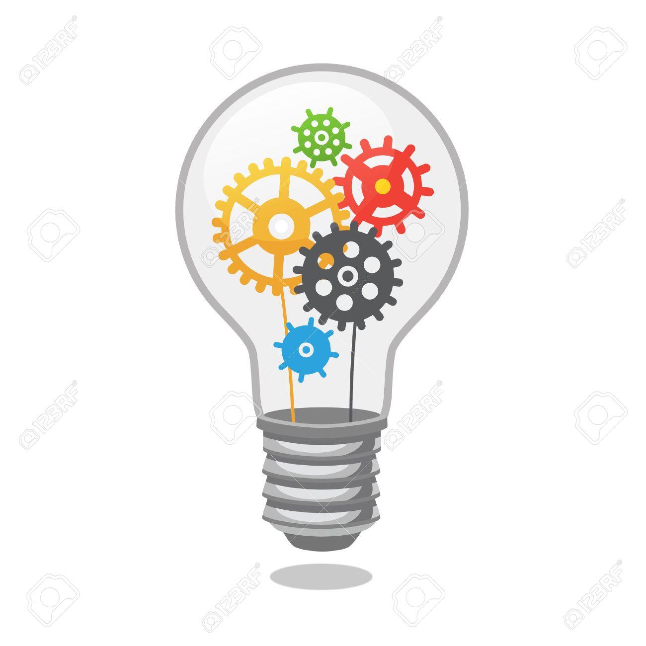 ampoule idee lumineuse avec des rouages le style plat illustration vectorielle isole sur fond blanc