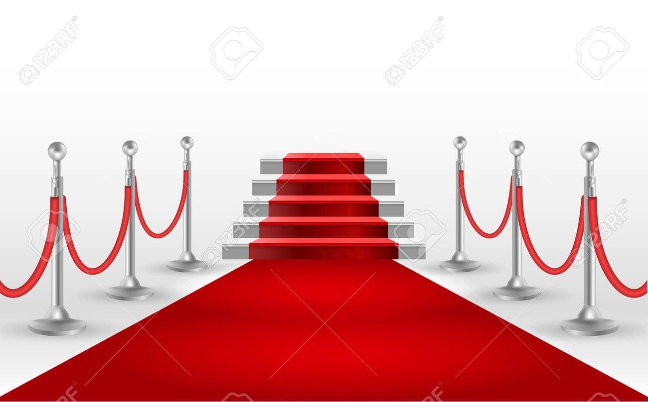 tapis rouge avec escalier blanc modele d affiche ou de la brochure eps10