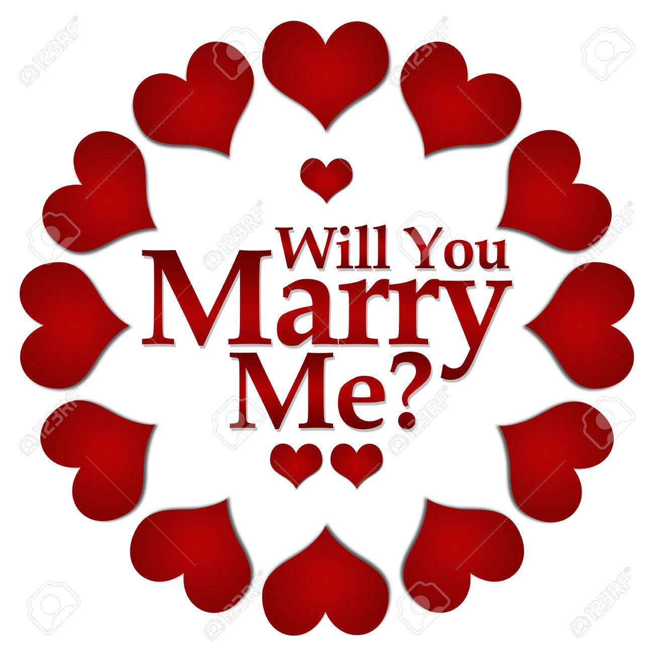 stock photo will you marry me red hearts circular
