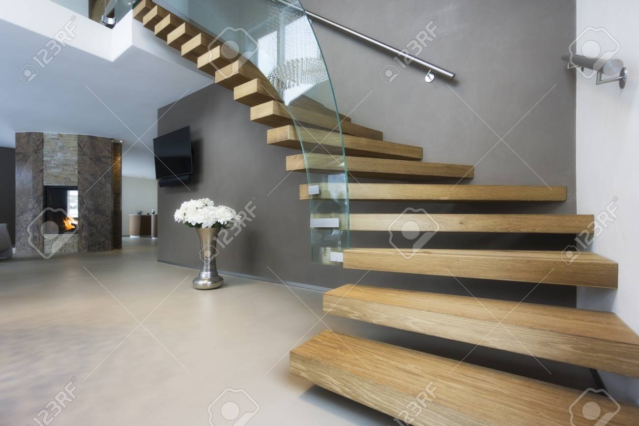 Elegant Wood And Glass Staircase In Luxury Home Stock Photo   Staircase Wood And Glass   Commercial Wood   New   Ash Wood   Simple Glass   Glass Bal