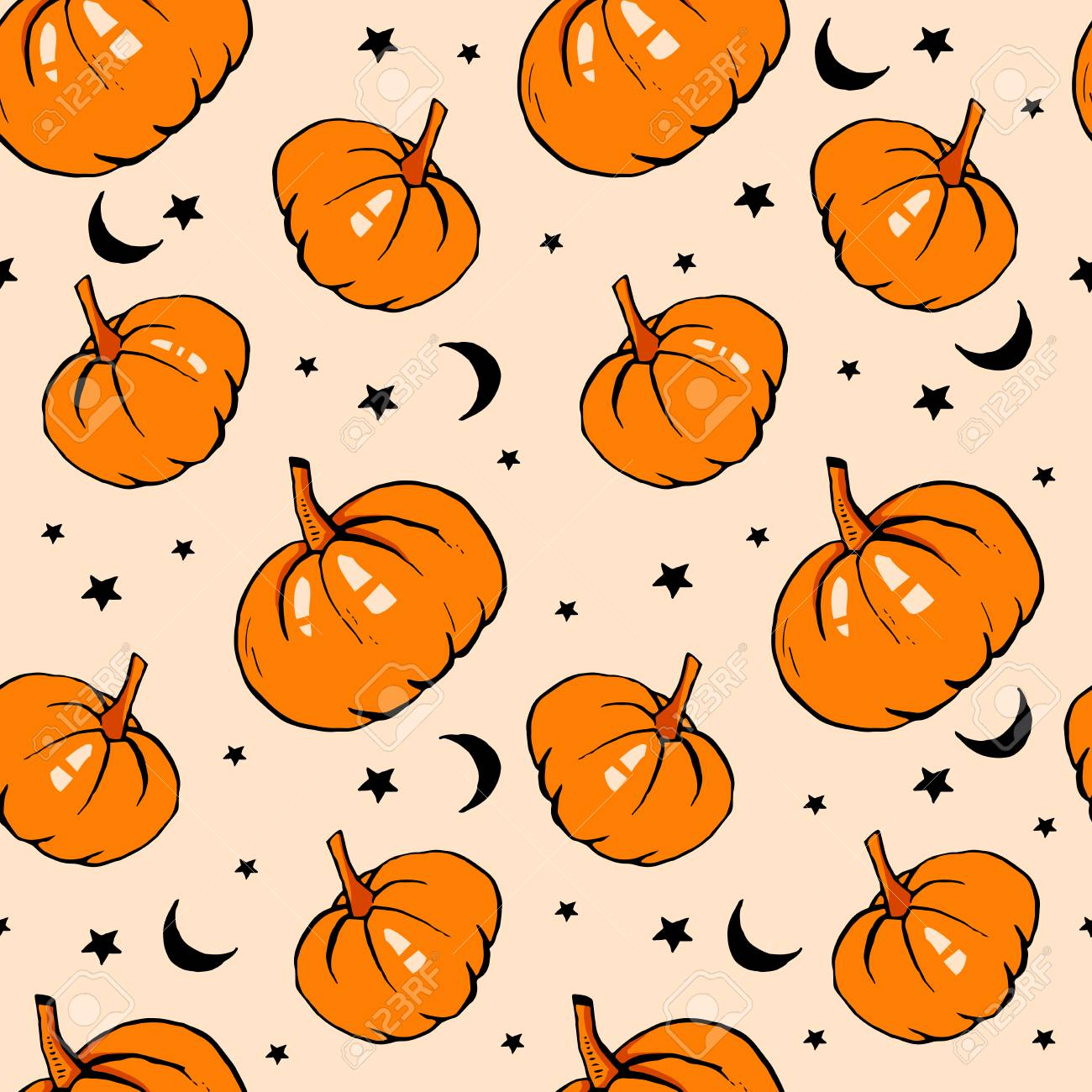 Halloween Seamless Pattern With Pumpkin Ready For Print In Fabric Royalty Free Cliparts Vectors And Stock Illustration Image 112486943