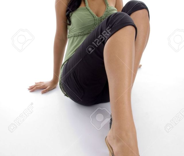Stock Photo Teen Pretty Girl Showing Her Sexy Long Legs With White Background