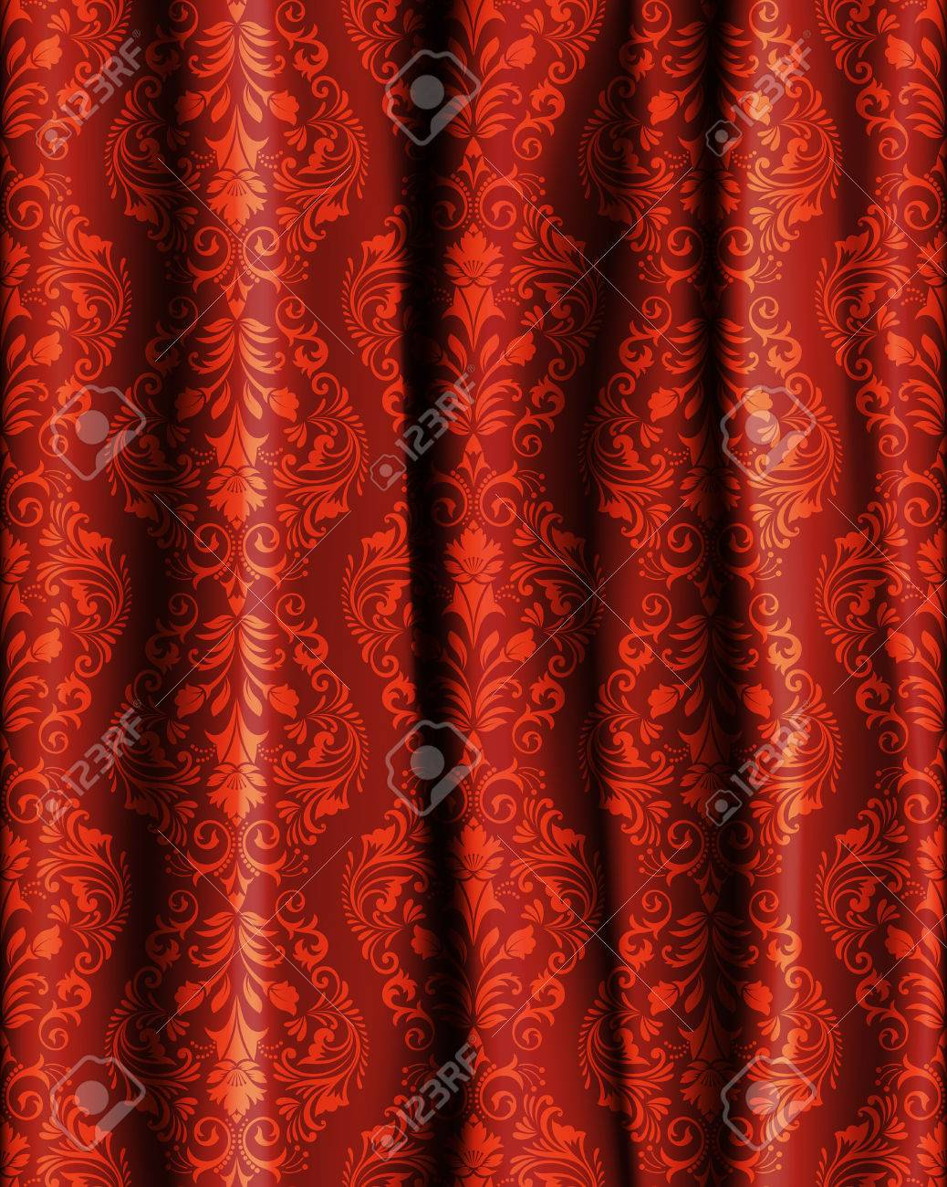 realistic curtain with a pattern in baroque style flower template