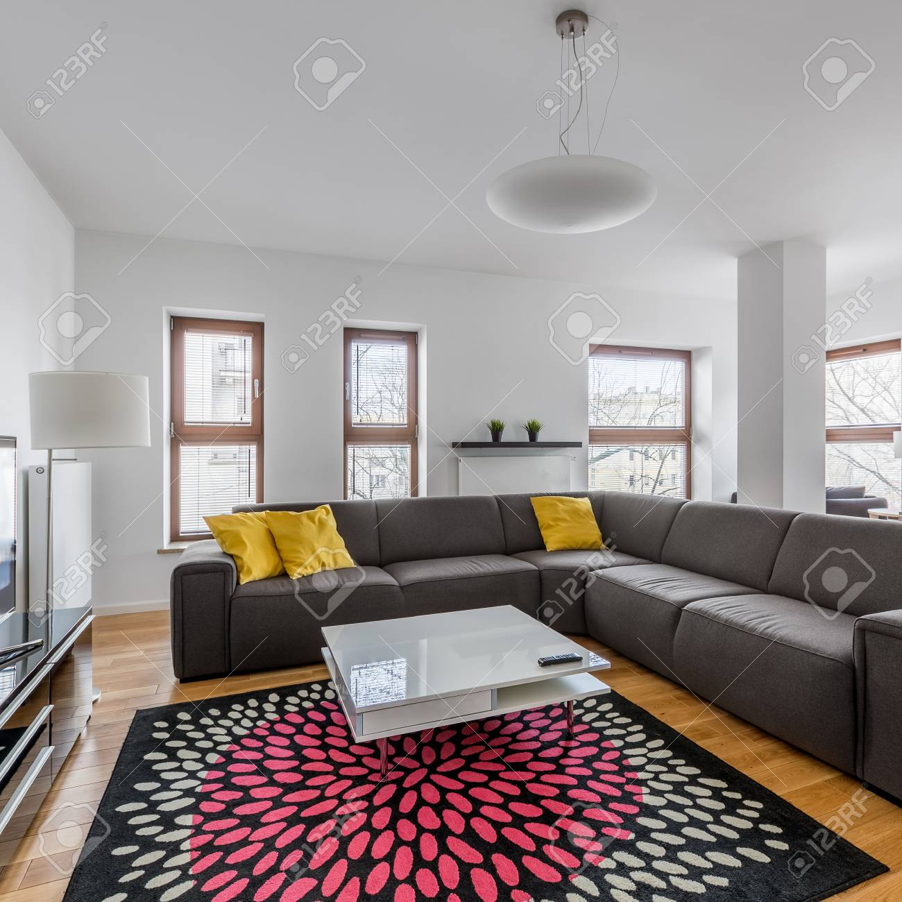 modern living room with extra large sofa coffee table and pattern stock photo picture and royalty free image image 97277412