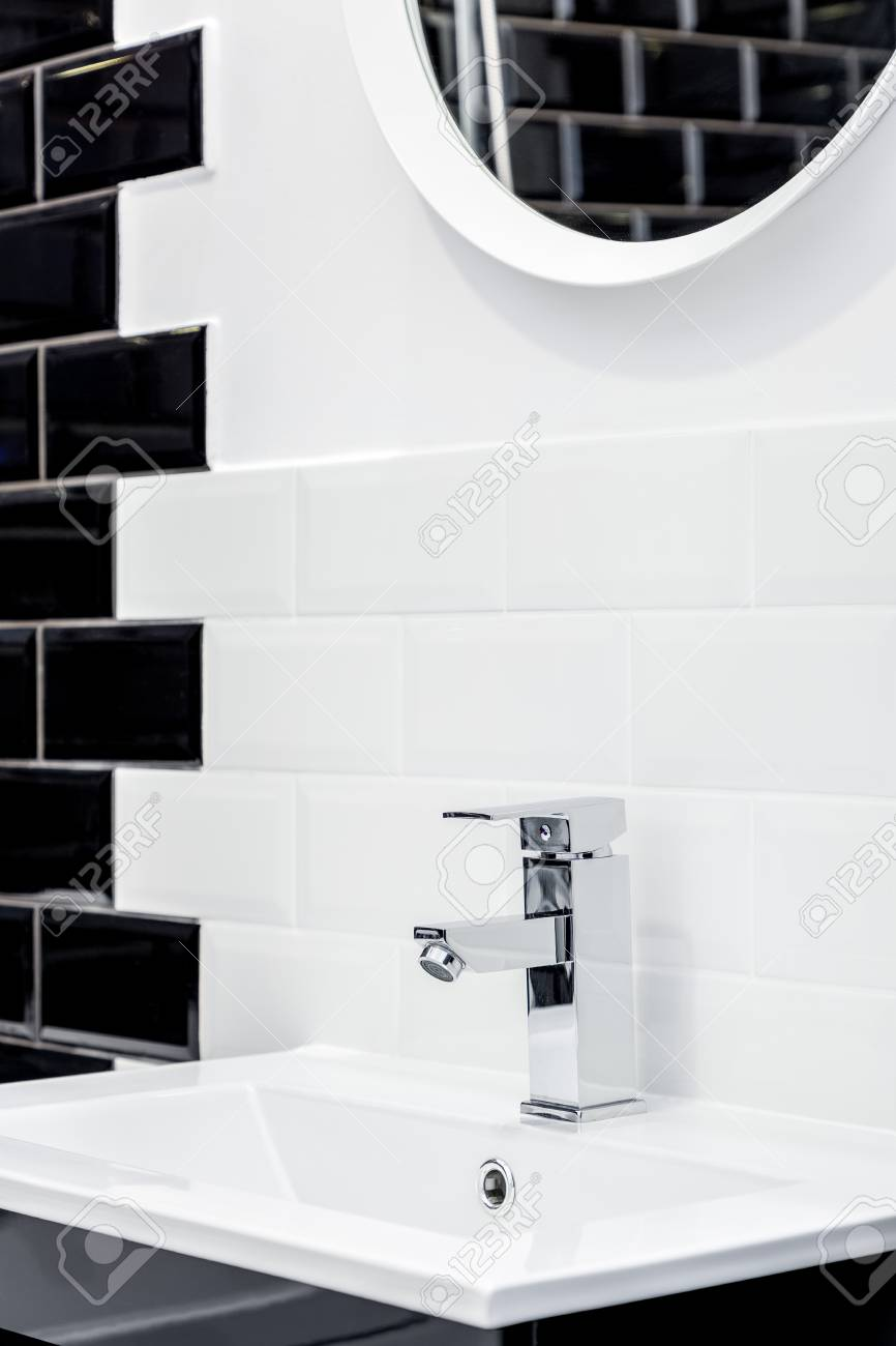 bathroom with washbasin and modern brick tiles in black and white stock photo picture and royalty free image image 103600053