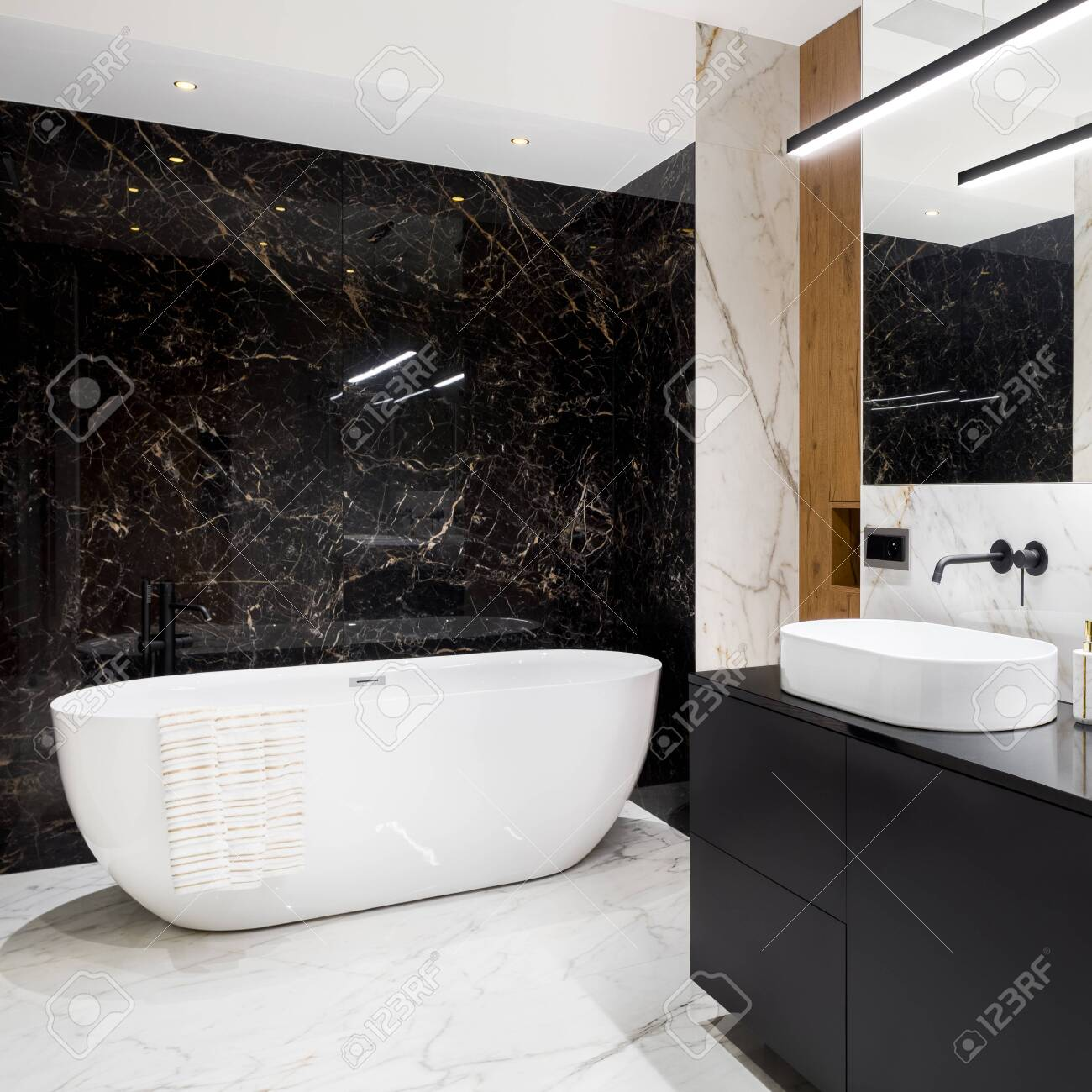 luxury and stylish bathroom with black and white marble tiles stock photo picture and royalty free image image 150386639