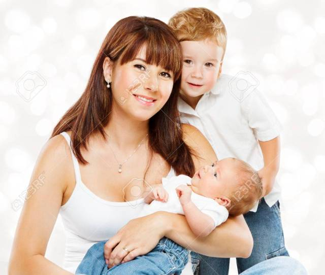 Family Portrait Mother And Baby Children Mom With Two Kids Son And Newborn Boy