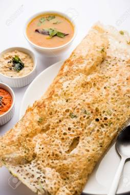 Onion Rava Masala Dosa Is A South Indian Instant Breakfast Served.. Stock  Photo, Picture And Royalty Free Image. Image 110758461.