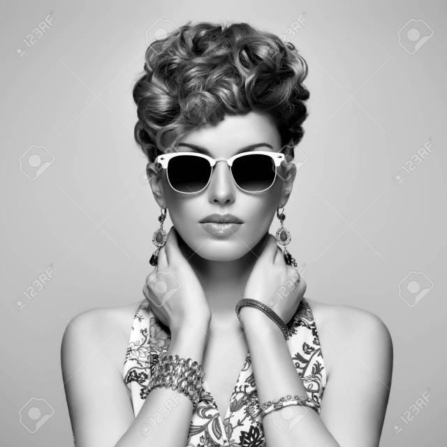 fashion portrait model in sexy dress. stylish mohawk hairstyle,fashion..