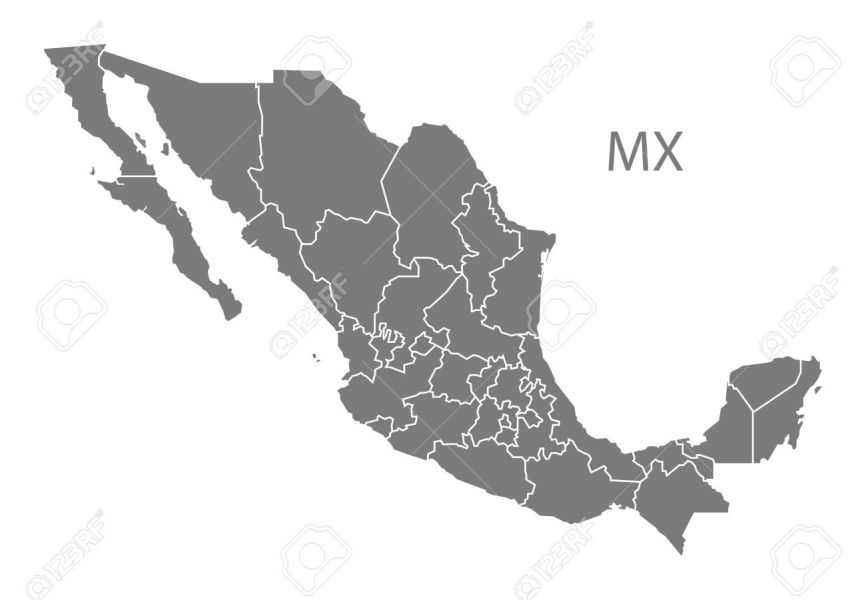 Mexico Map In Gray Royalty Free Cliparts  Vectors  And Stock     Mexico map in gray Stock Vector   60482692