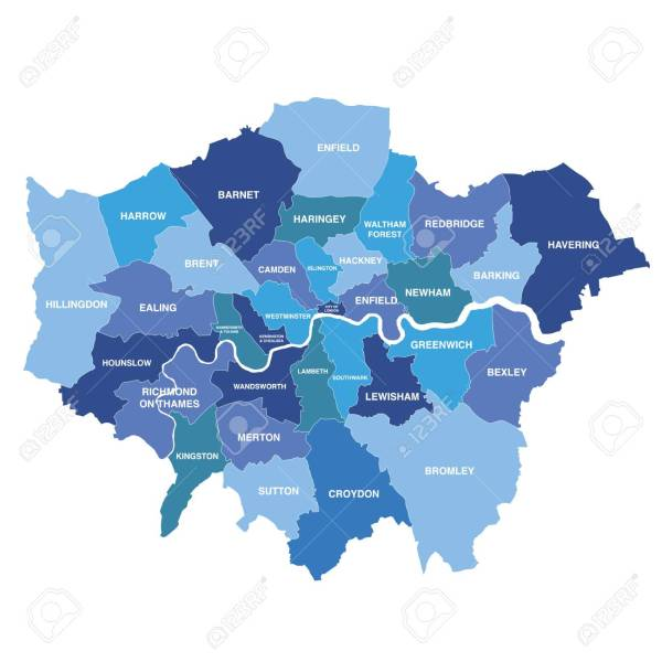 Greater London Map Showing All Boroughs Royalty Free Cliparts     Greater London map showing all boroughs Stock Vector   92940609