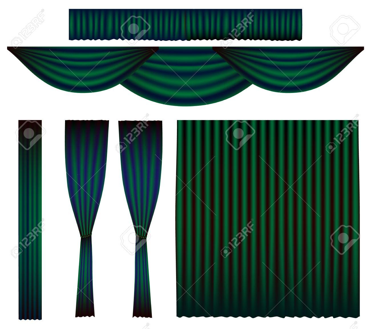 vert emeraude rideau vector set