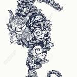 Sea Horse Tattoo And T Shirt Design Symbol Of Travel Freedom Royalty Free Cliparts Vectors And Stock Illustration Image 79582292