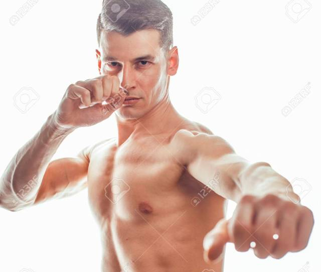 Stock Photo Young Handsome Naked Torso Man Boxing On White Background Isolated Lifestyle Sport Happy Real People Concept Close Up