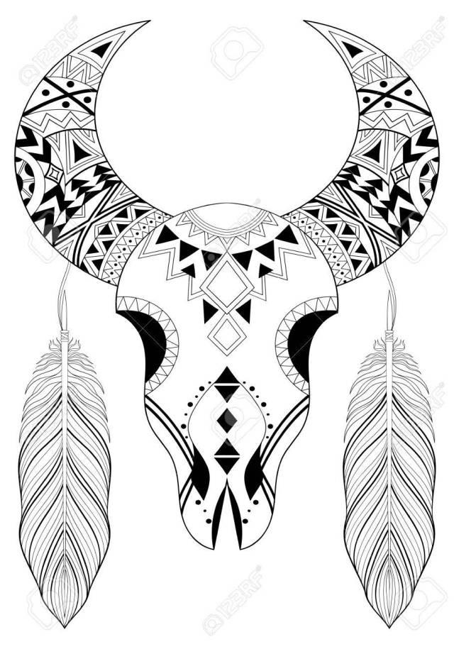 Stylized Animal Skull With Boho Feathers. Hand Drawn Ethnic Animal