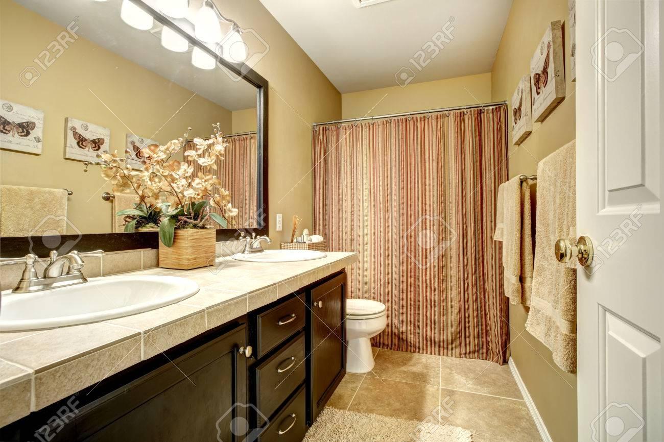 interieur salle de bains avec meuble lavabo sombre brun carrelage et rideau raye banque d images et photos libres de droits image 30369909
