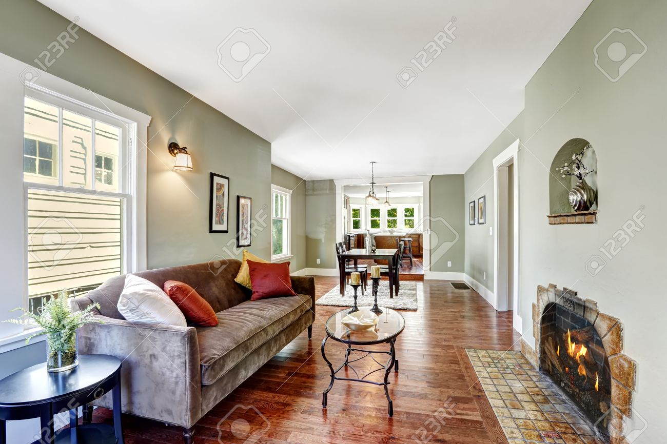 https www 123rf com photo 31386052 house interior in soft mint color with hardwood floor brown soft couch and glass top coffee table html