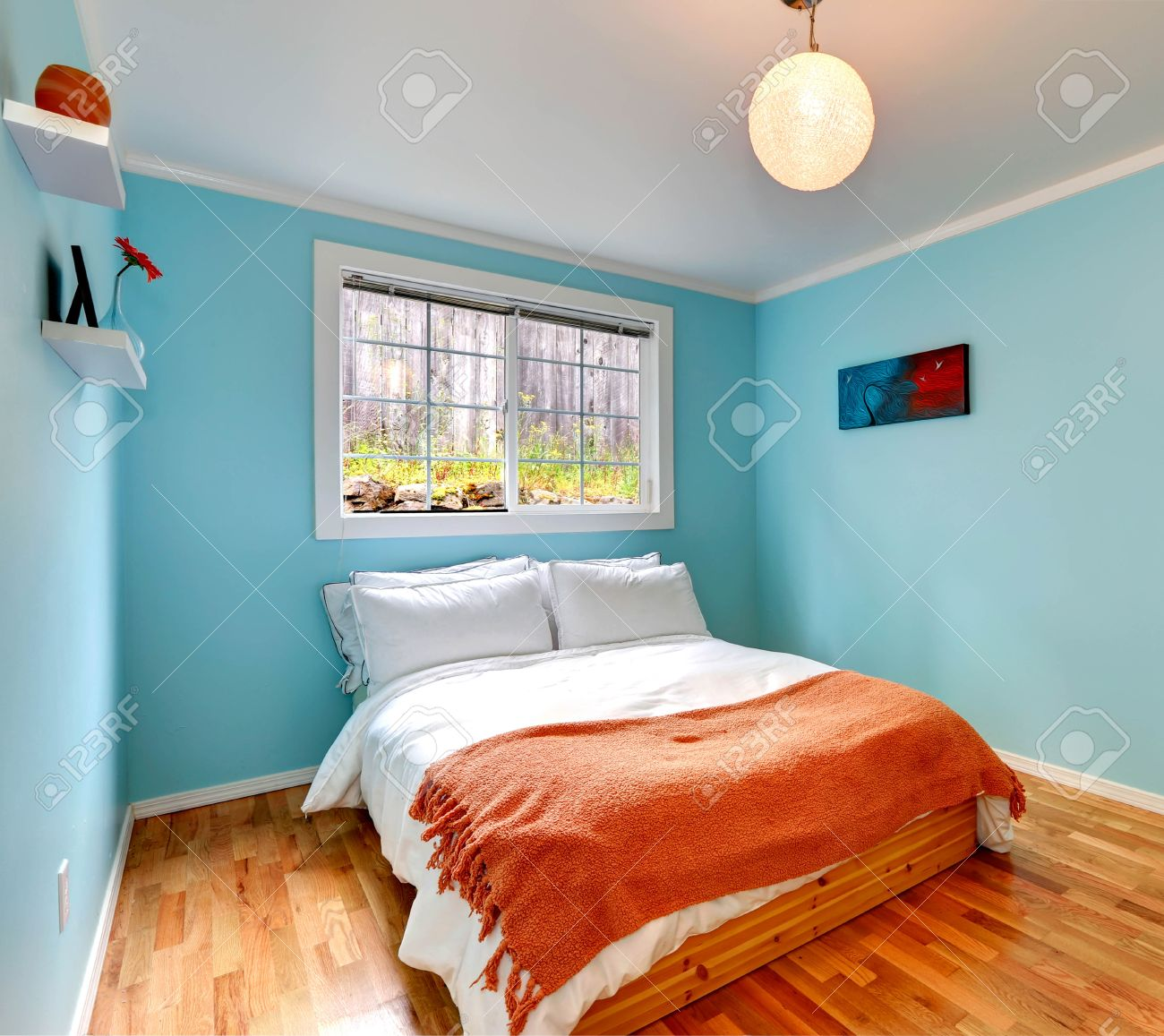 Cozy Bedroom In Light Blue Color With Hardwood Floor And Wooden Stock Photo Picture And Royalty Free Image Image 34826065