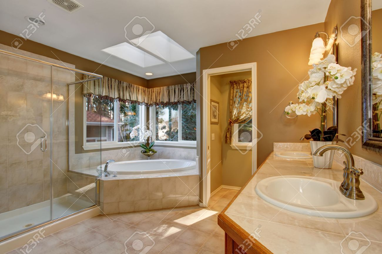 Large Elegant Master Bathroom With Shower  And Big Bath Tub  Stock     Large elegant master bathroom with shower  and big bath tub  Stock Photo    43014385