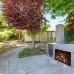 Hinterhof Haus Aussen Mit Blauer Gemauerten Kamin Und Gepflegten Garten Northwest Usa Lizenzfreie Fotos Bilder Und Stock Fotografie Image 63738172