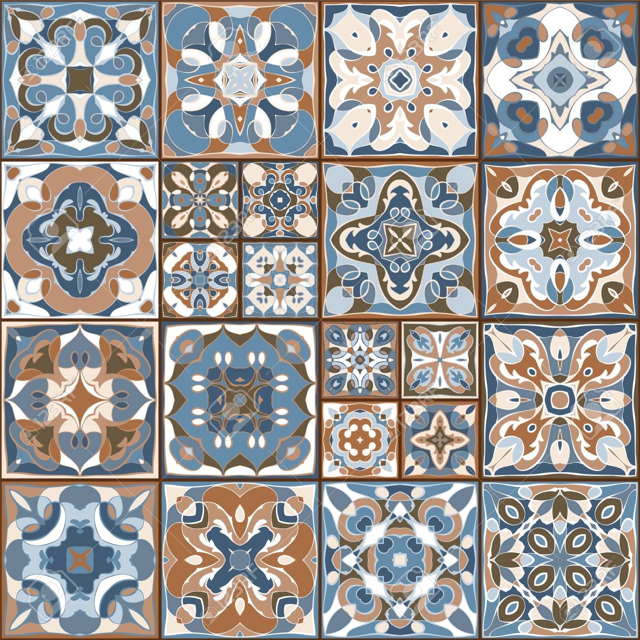 a collection of ceramic tiles in retro colors a set of square