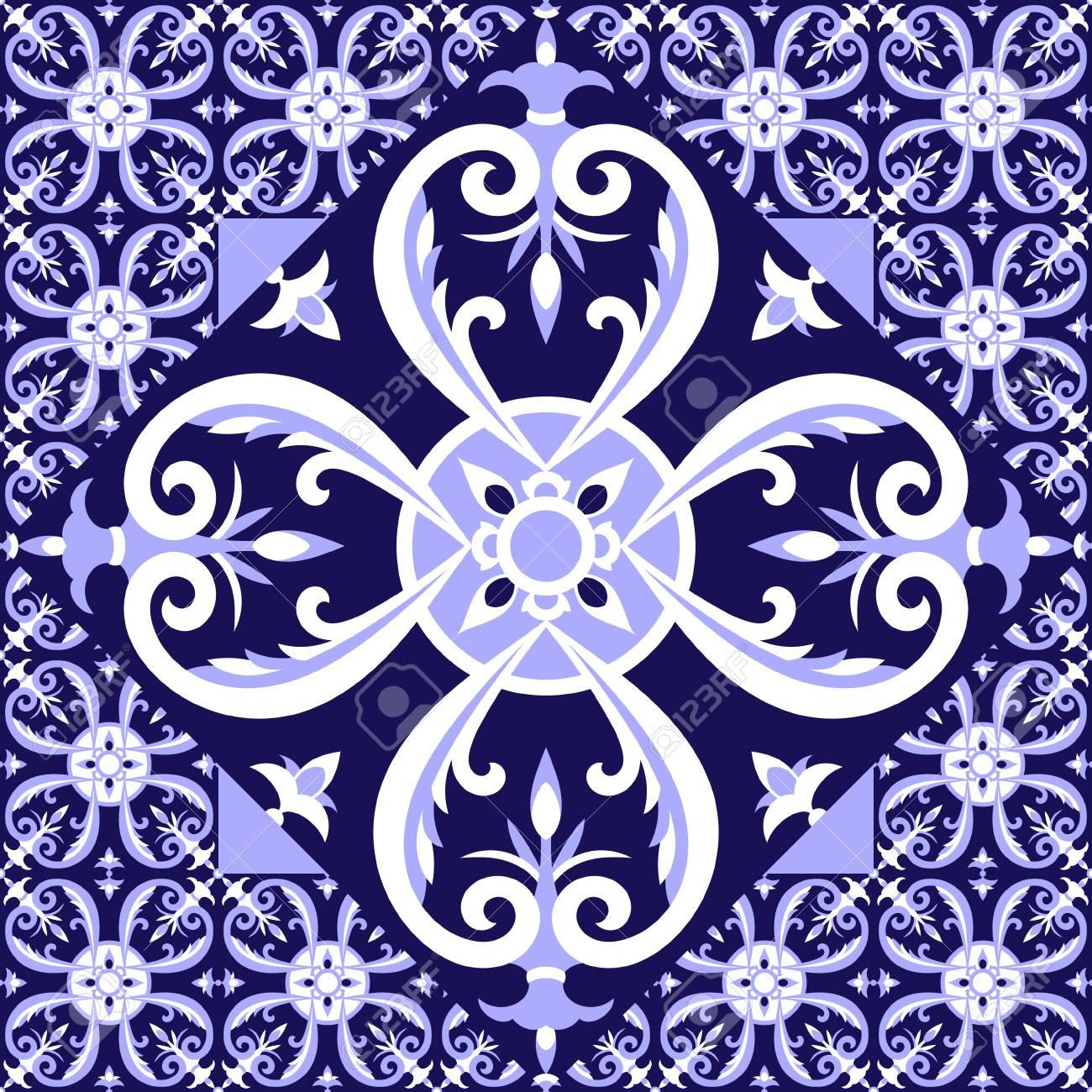 carrelage bleu blanc espagnol modele de plancher avec des carreaux de ceramique grande tuile au centre est encadree en petit fond avec azulejo