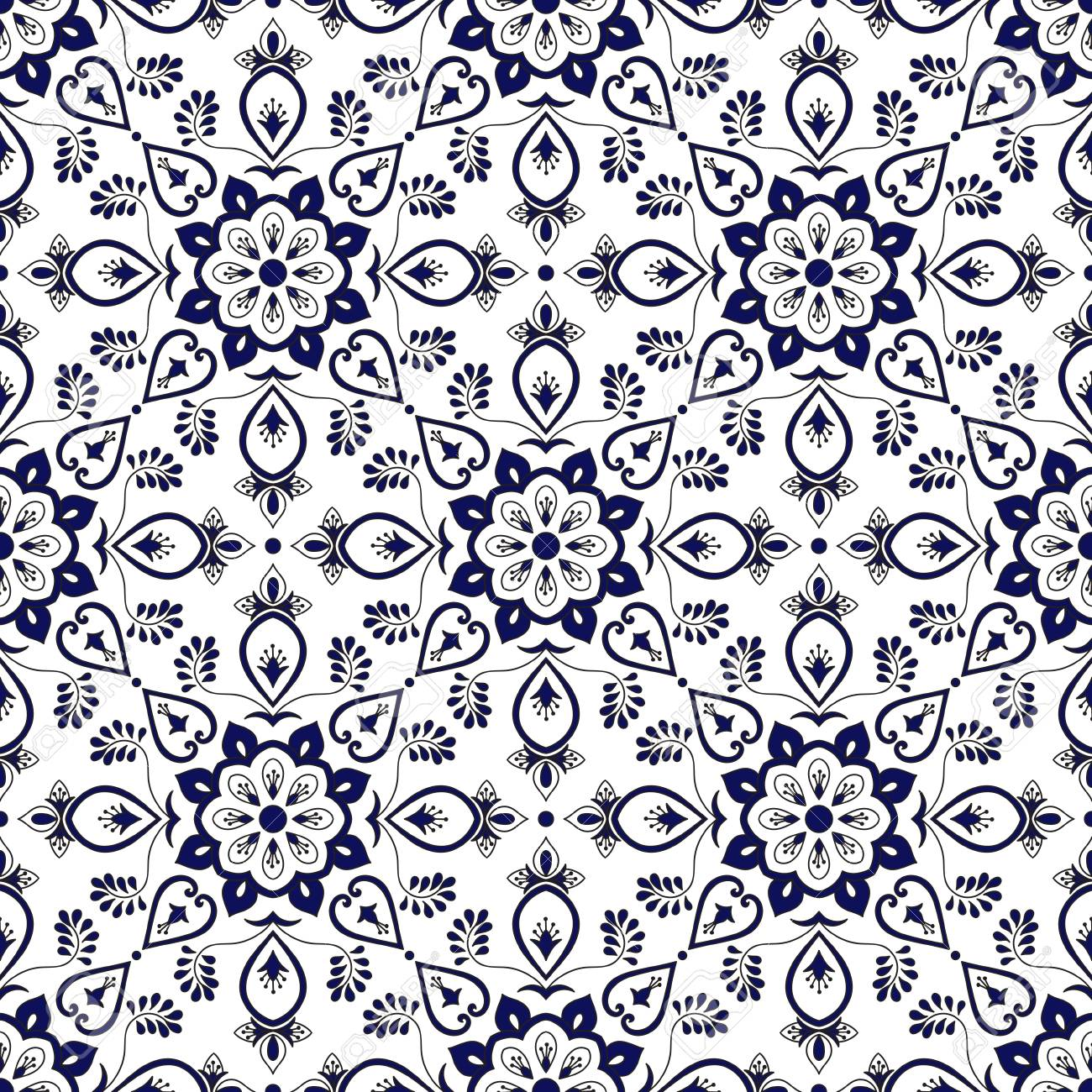 spanish tile pattern vector with blue and white ornaments portuguese