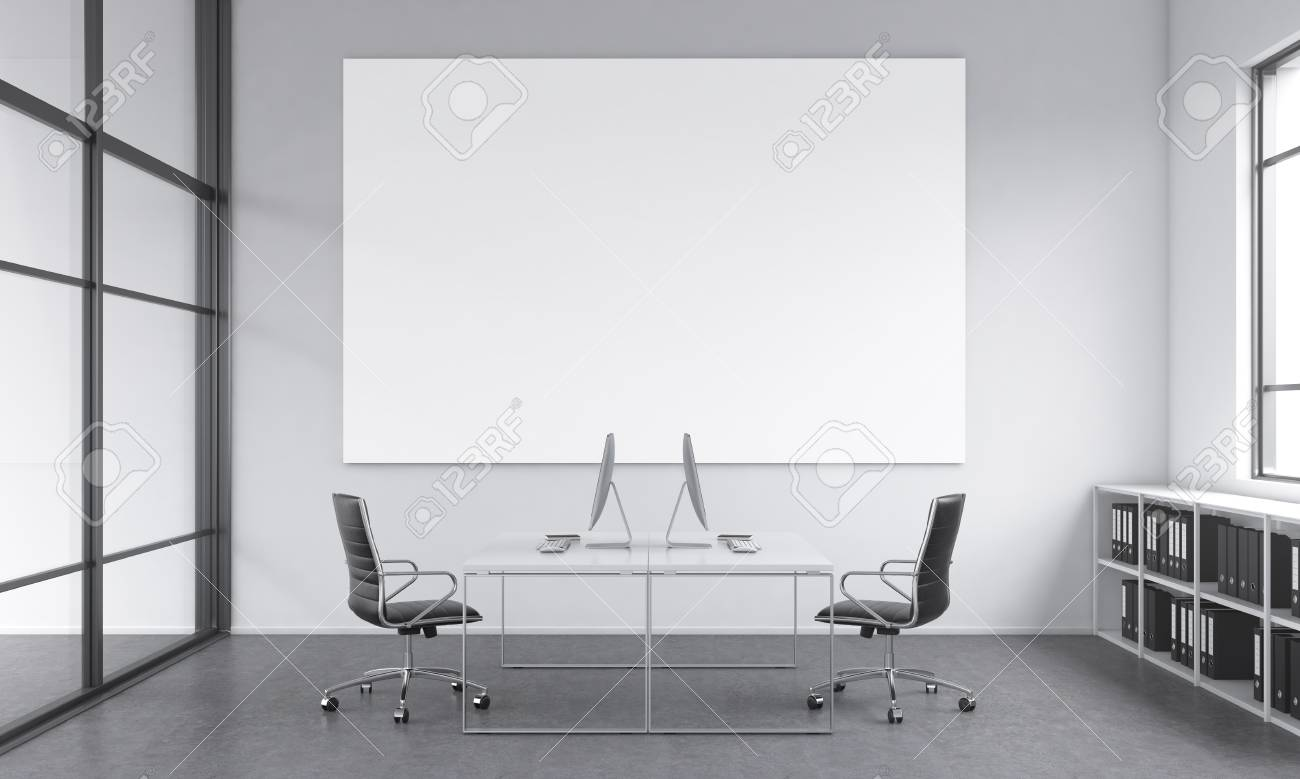 https www 123rf com photo 51753516 a working place for two people computers and tables opposite each other a blank poster on the white html