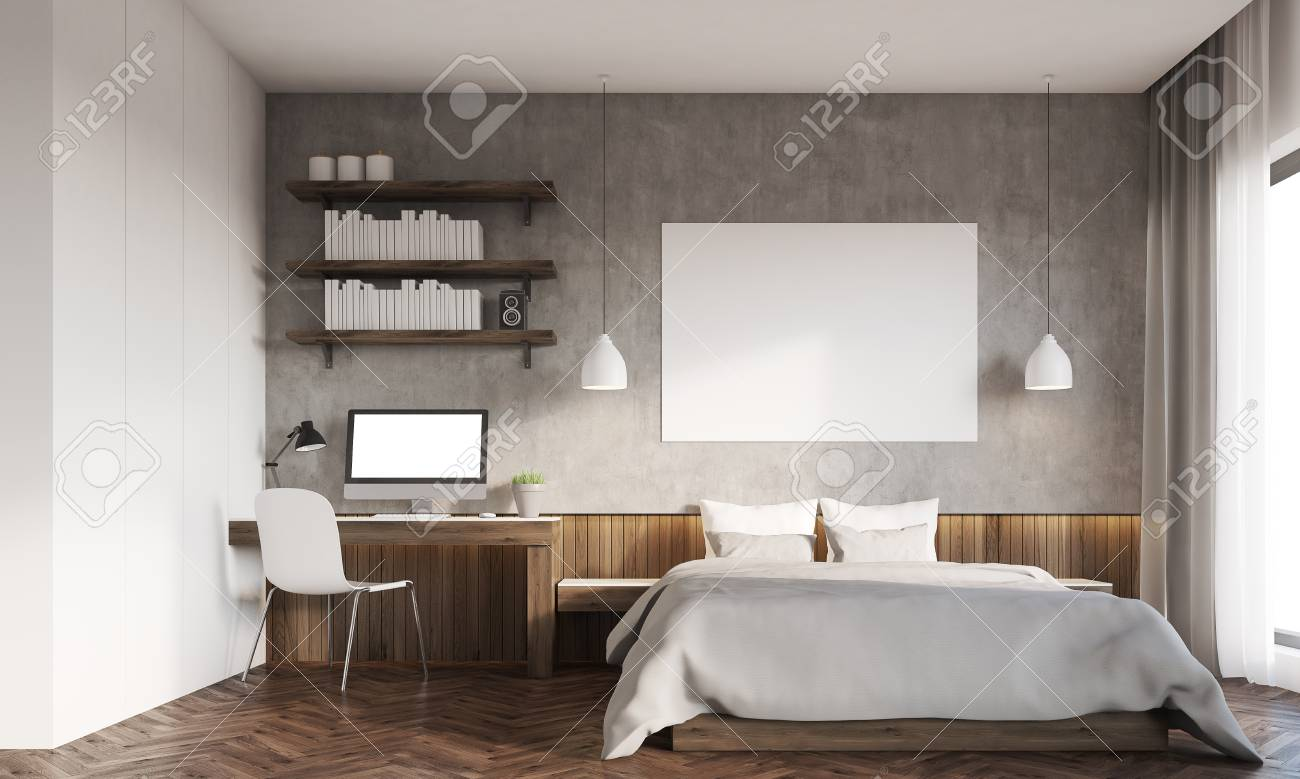 Se lo scrittoio trova posto in camera da letto,. Front View Of Bedroom In Big City Master Bed With Horizontal Poster Computer On Desk Bookshelves 3d Rendering Mockup Stock Photo Picture And Royalty Free Image Image 64776780
