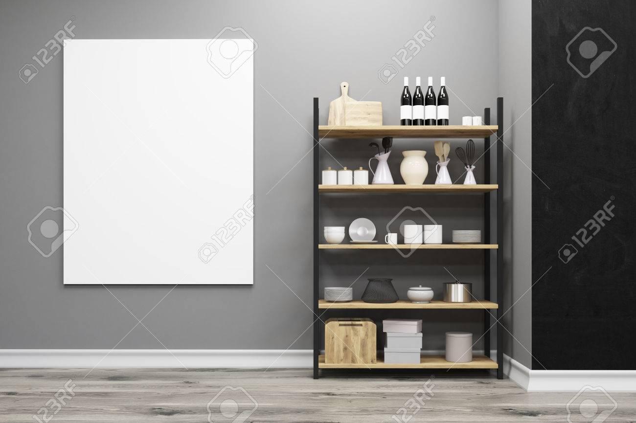 banque d images gros plan d une armoire de cuisine debout pres d un mur gris avec une affiche verticale accroche sur elle rendu 3d maquette