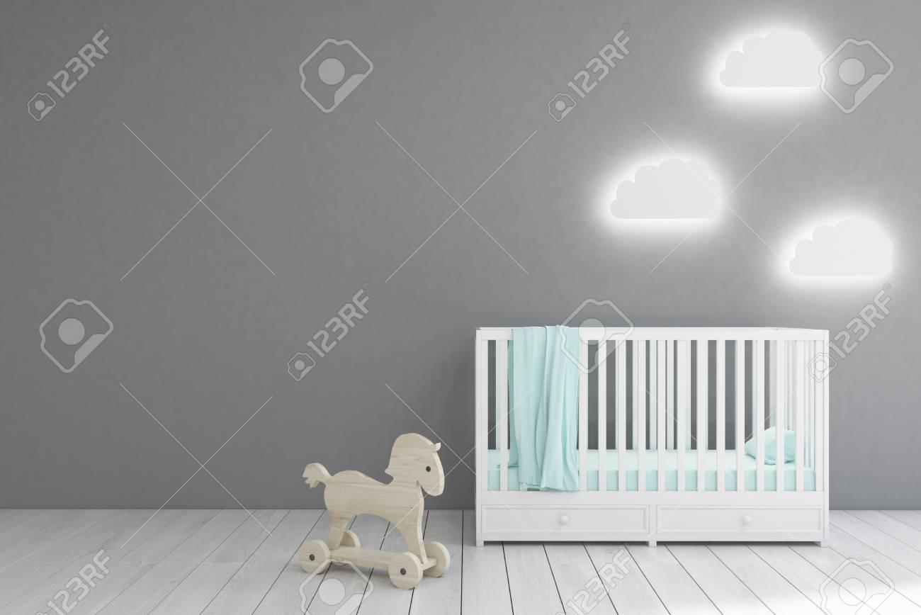 la chambre du bebe interieur avec une creche des lampes en forme de nuage et un cheval de jouet murs gris concept du minimalisme rendu 3d