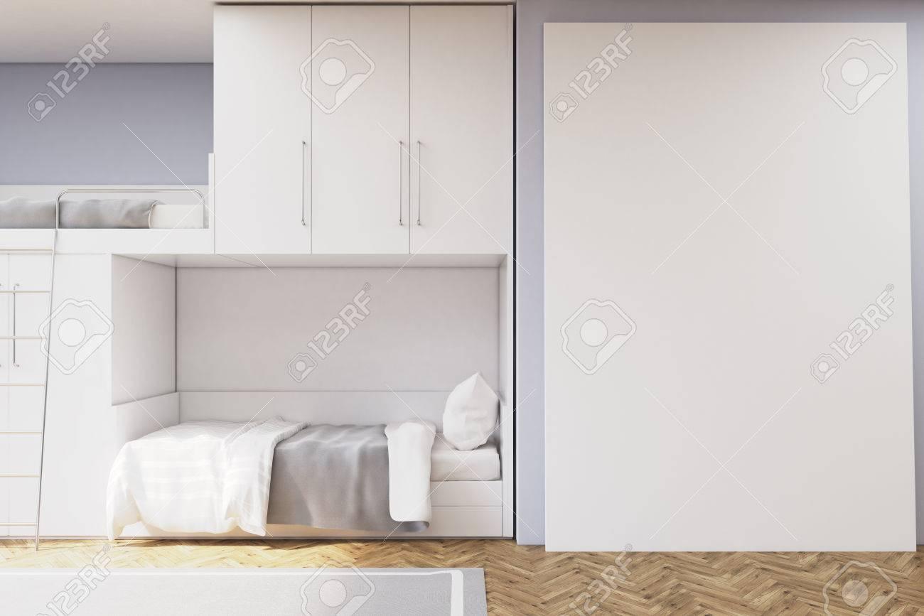 interieur de la chambre des adolescents avec un lit superpose et un mur blanc il y a des placards blancs au dessus du lit rendu 3d maquette