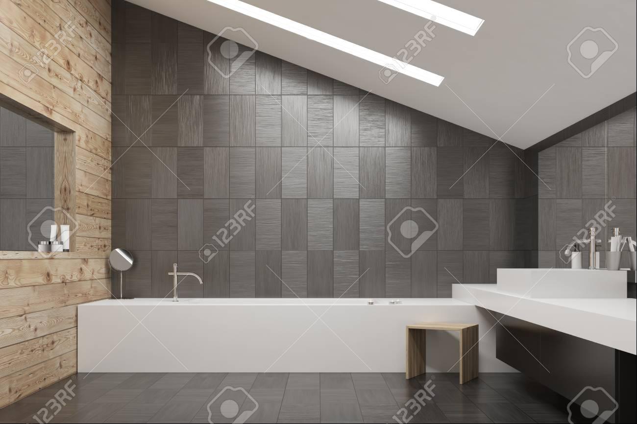 carrelage gris fonce et interieur en bois avec sol en carrelage baignoire et lavabo angulaires et deux miroirs rendu 3d maquette