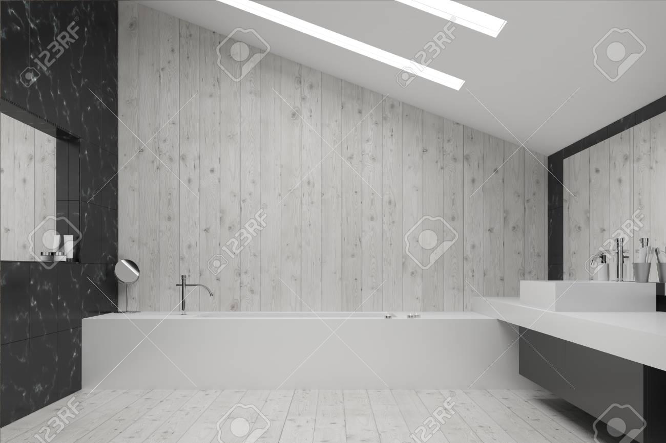 interieur de salle de bains en marbre noir et en bois blanc avec carrelage au sol baignoire et lavabo angulaires et deux miroirs rendu 3d maquette