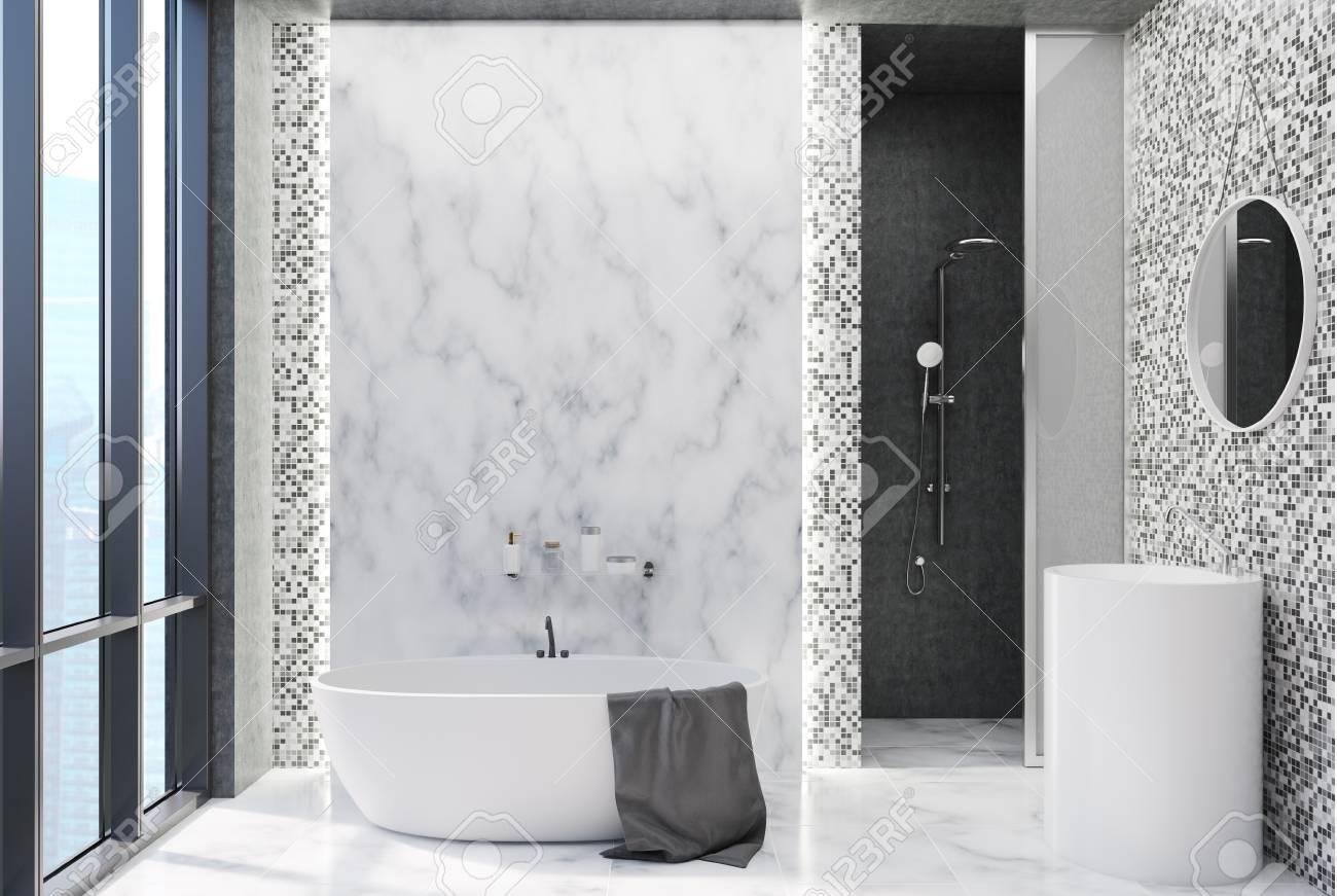 interieur de salle de bain en marbre blanc et carrelage gris avec sol en marbre blanc grande fenetre baignoire blanche et lavabo rond rendu 3d