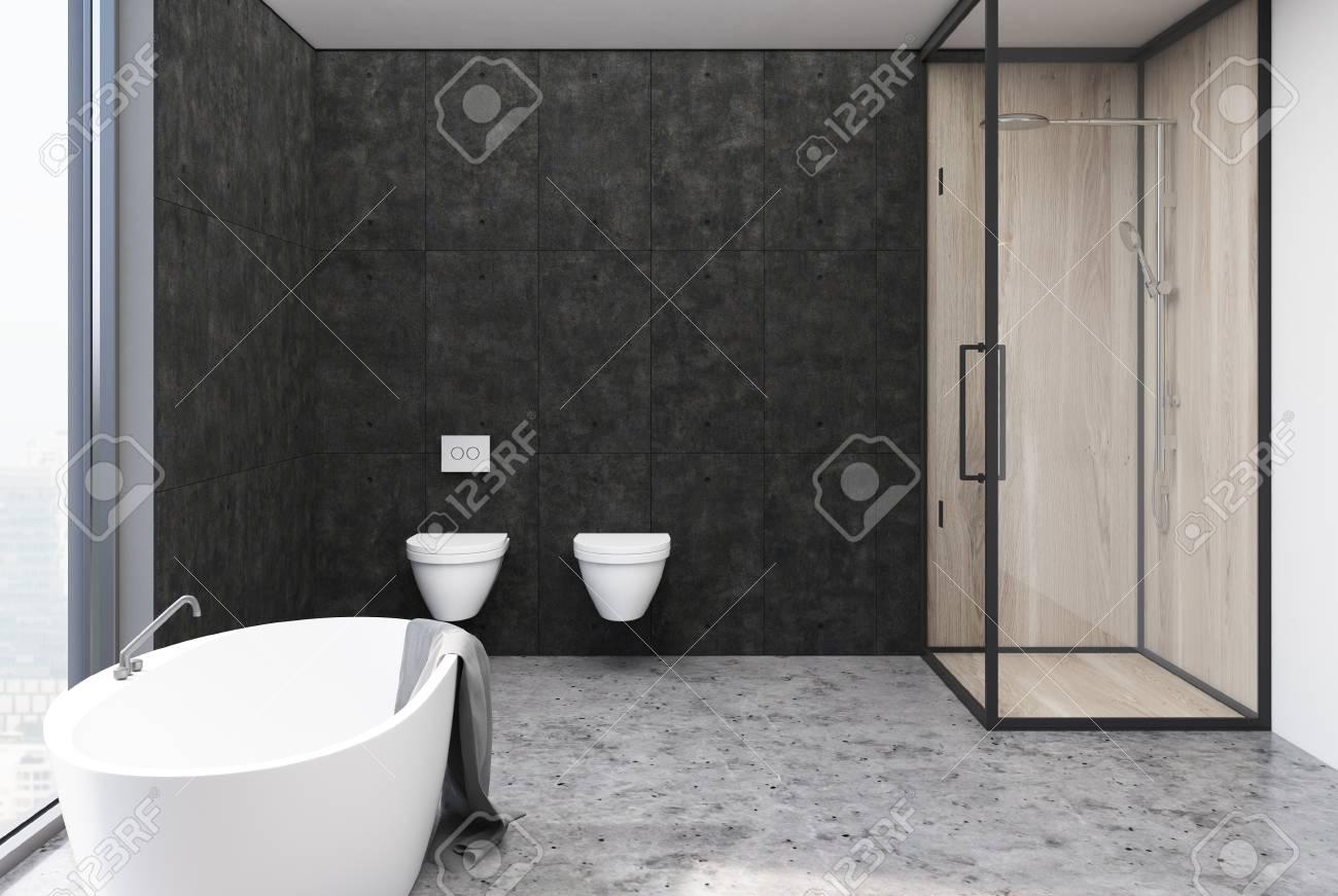 interieur de salle de bains gris fonce avec sol gris baignoire deux toilettes et douche murs en bois et verre rendu 3d maquette
