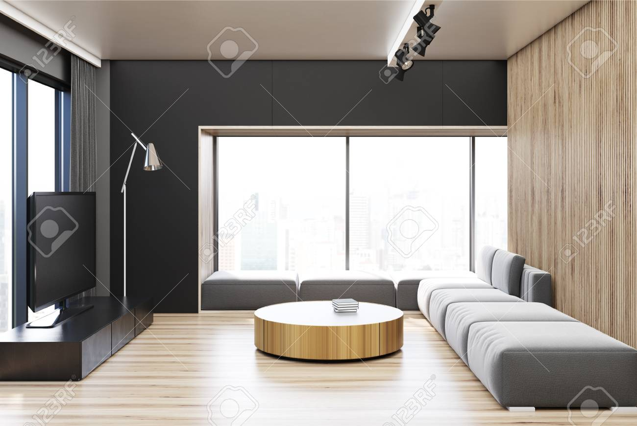 black living room interior with a wooden wall and floor a gray