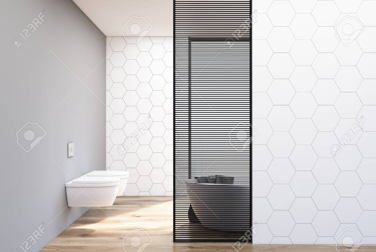 white hexagon tile bathroom interior with two toilets and a white