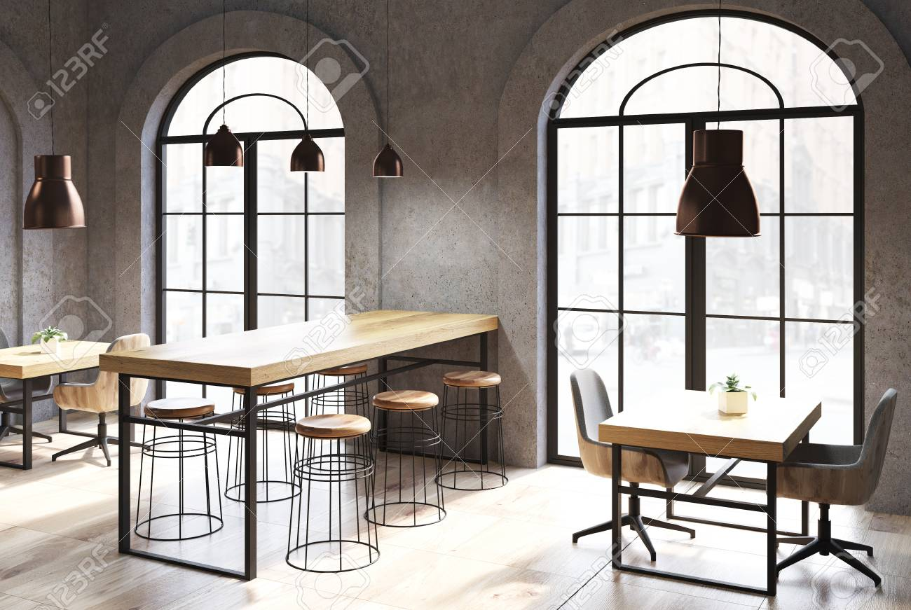 Dark Concrete Coffee Shop Interior With A Wooden Floor Tables Stock Photo Picture And Royalty Free Image Image 92872379