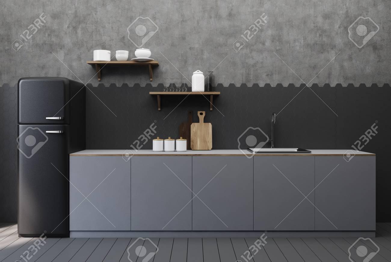 black and concrete kitchen interior with hexagon tiles a countertop