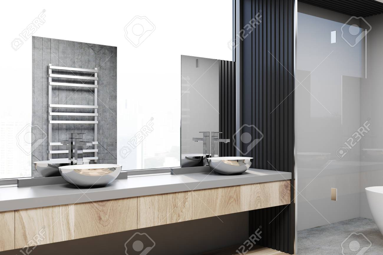 gray and concrete bathroom corner with a concrete floor a double