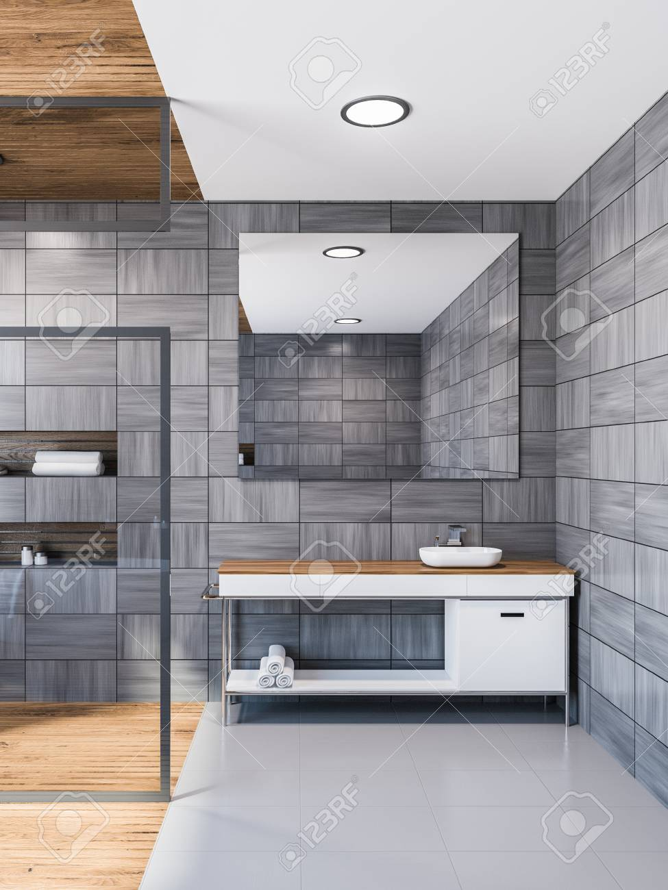 gray wooden tile bathroom interior with gray floor and a glass