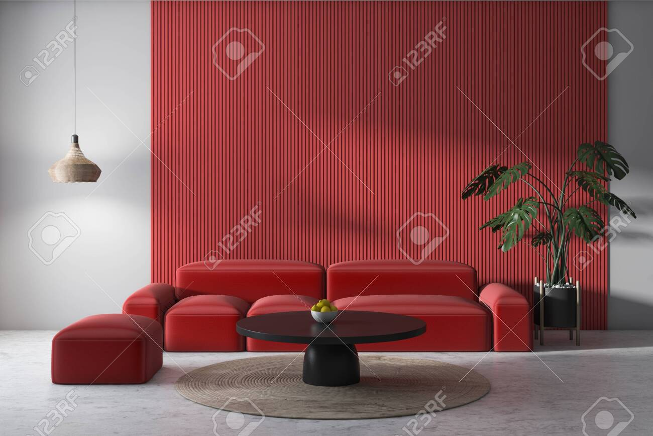 interior of modern living room with white and red walls concrete