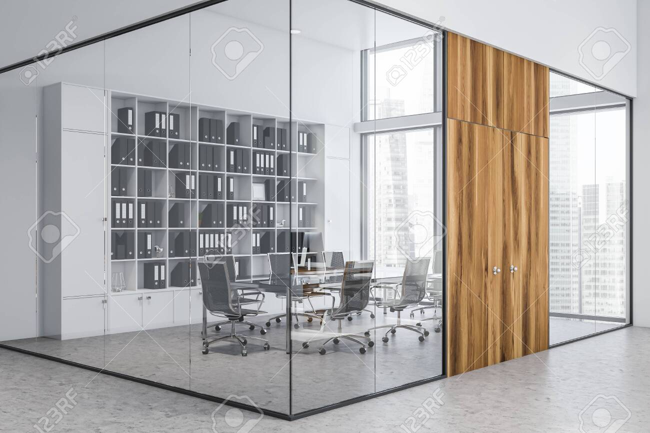 Interior Of Modern Meeting Room With White And Glass Walls Wooden