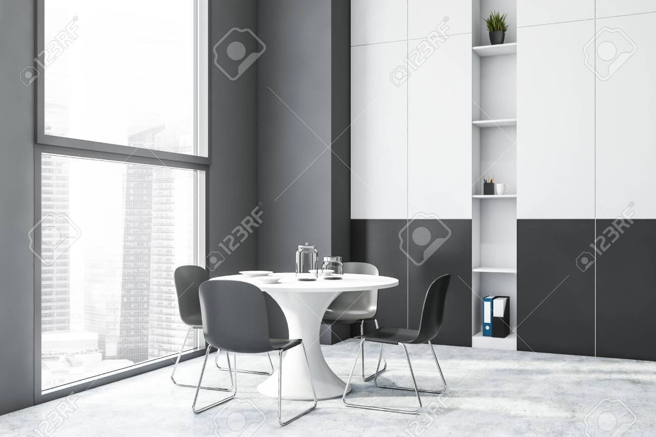 Interior Of Modern Dining Room With Gray Walls Concrete Floor