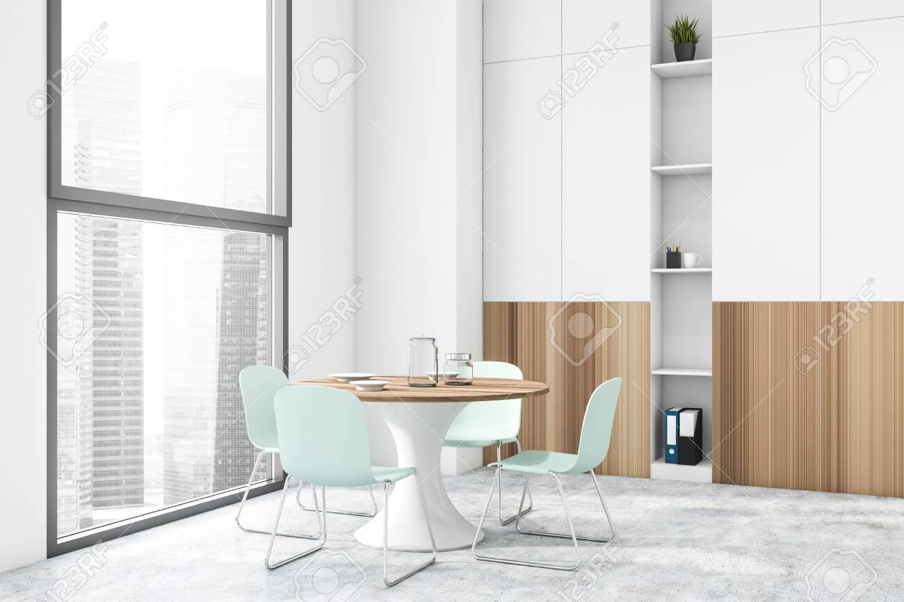 Interior Of Modern Dining Room With White Walls Concrete Floor