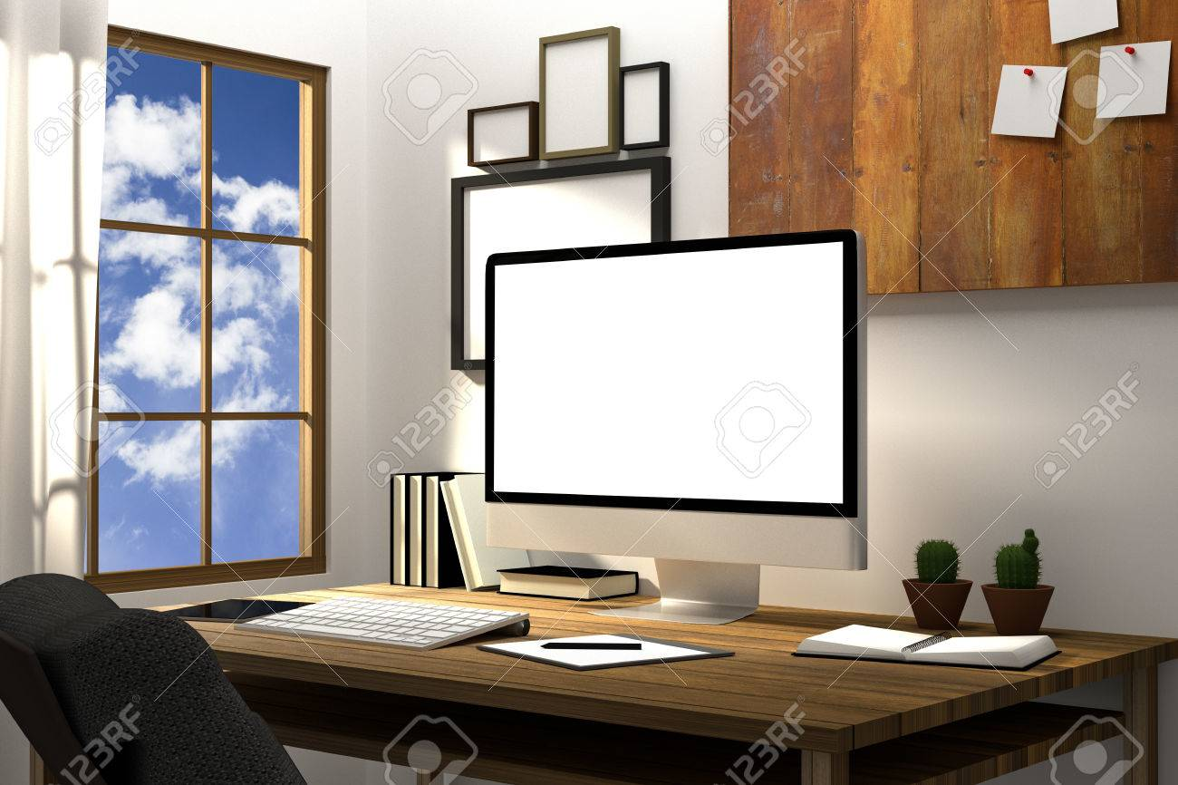 3d Rendering Illustration Of Modern Creative Workplace Mockup Pc