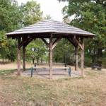 Simplicity Wooden Shelter With Seats In Nature Small Gazebo Stock Photo Picture And Royalty Free Image Image 122010643